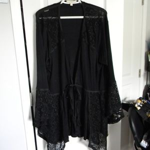 Plus Size Black Lace Cover Up with Bell Sleeves